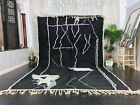 Moroccan Handmade Beni Ourain Rug 7'9x11'9 Abstract Black White Wool Berber Rug