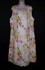 J Jill Linen Floral Print Dress NEW 18 Tall Natural Beige Midi