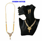 Combo Offer Indian 22K Gold Plated Rani Haar & Necklace Earrings Set J34A & N5