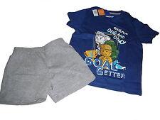 NEU Lupilu Shorty / kurzer Schlafanzug Gr.  98 / 104 dunkelblau-grau Fußball !!