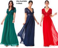 Goddiva Chiffon Lace Sequin Cap Sleeve Long Maxi Evening Party Dress Bridesmaid