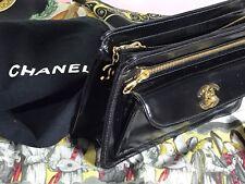CHANEL Pochette Tasche LACKLEDER schwarz sac bag Börse Täschchen leather black