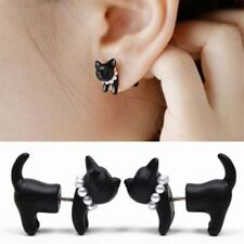 2pcs Punk Cool Simple Stereoscopic Cat Kitten Impalement Lady Stud Earring Black