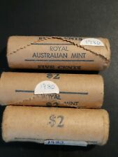 3x RAM 5 Cent full Mint Rolls 1980, 1980, 1982 BUnc coins Royal Australian Mint.