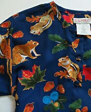 NWOT Esprit Ugly Christmas  Girl Squirrel Chipmunk Blue Red Green Dress Sz M
