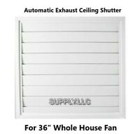 "Automatic Ceiling Shutter for Whole House Fan Gravity Exhaust 36"" x 36"" White"