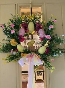 Easter Door Wreath Luxury Quality Artificial Wreath Pink Yellow Egg Wreath Bunny