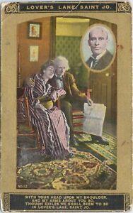 DB romance postcard 1909, Lovers lane saint jo. , gold trim, hand upon shoulder