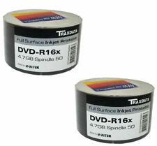More details for 100 ritek traxdata dvd-r 16x 4.7gb white full face inkjet printable blank discs