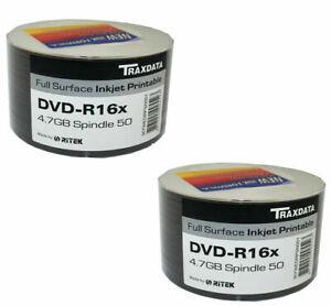 100 Ritek Traxdata DVD-R 16X 4.7GB White Full Face Inkjet Printable Blank Discs