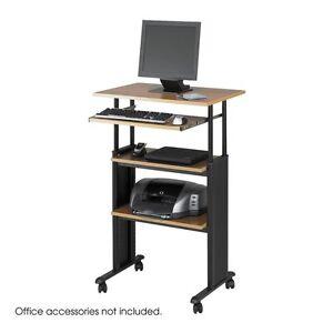 Adjustable Height Stand Up Office Desk in Medium Oak