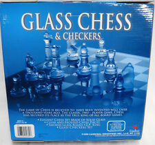 Classic Games Chess & Checkers Clear & Frosted Glass Pieces NIB
