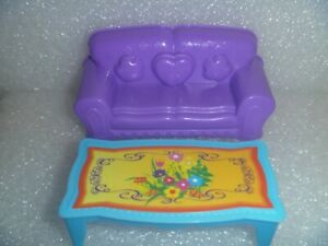 Small Doll Size Plastic Sofa and Coffee Table Cute