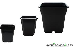 Square Black Plant Pots Soil Hydroponics 0.7, 1.5, 2, 3, 5.7, 11, 12, 18, 25 L