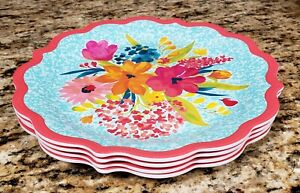THE PIONEER WOMAN SUNNY DAYS CORAL MELAMINE DINNER PLATE SET OF 4 NEW
