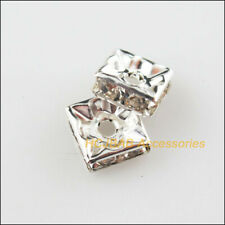 25 New Crystal Square End Caps Spacer Beads Silver Plated 8mm