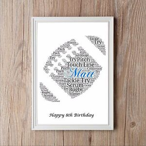 Rugby Ball Personalised A4 Word Art Print Gift Great Christmas Birthday Present