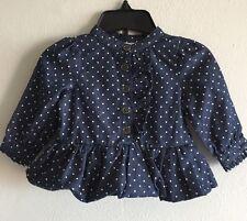 Girl's Calvin Klein Dress Denim Puff Ruffled Polka Dot Infant 3-6 Months