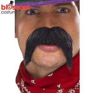 AC68 Black Big and Bushy Gringo Mexican Tash Wild West Cowboy Western Moustache
