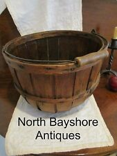 Antique 1800s Half Bushel Apple Produce Gathering Woven Basket Bail Handle aafa
