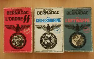 CHRISTIAN BERNADAC Lot de 3 livres : LA LUFTWAFFE - LA KRIEGSMARINE - L'ORDRE SS