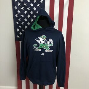 adidas Notre Dame Hoodie Sweatshirt men's LARGE leprechaun navy blue irish 2D376