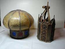 Vintage Movie Palace Theater Light Fixtures Stained Glass 1920's