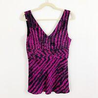 NEW Armani Exchange Silk Blouse Size Medium Black Pink Magenta Sleeveless