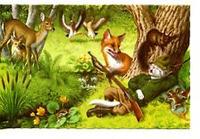 Fox Taking Rifle Gun-Sleeping Hunter Cat-Dressed Animal-Mainzer Vintage Postcard