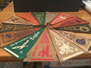 Lot of 13 1970s NFL pennant lot.