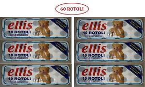 60 ROTOLI CARTA IGIENICA ELLIS 2 VELI DELICATA - N° 6 CONFEZIONI DA 10 ROTOLI