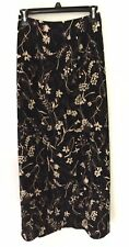 Vintage 90s Ankle Length Long Tube Skirt Black Floral Size Small