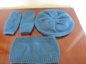 3 piece teal knitted beret/hat, fingerless gloves, earwarmers/headband - new