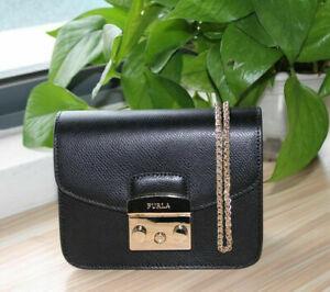 Furla Metropolis Woman crossbody bag Mini leather chain Shoulder Bag Black