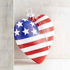 Patriotic Usa Flag Blown Glass Heart Shaped Ornament Silver Hanger Hand Painted
