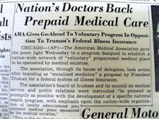 1945 newspaper American Medical Association in SUPPORT PREPAID MEDICAL INSURANCE