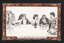 c1912 artist signed Gibson Mrs. Katcham & Gouger at dinner party comic postcard