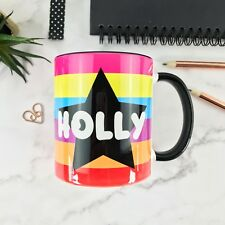 Personalised Star Rainbow Name Black Inner Ceramic 10oz Mug gift for her-him