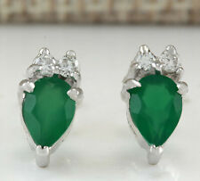 1.19 Carat Natural Emerald 14K White Gold Diamond Earrings