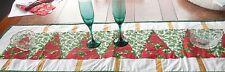 Handmade green/white/red quilted Christmas table runner, holly, pointsettias