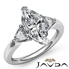 Three Stone Marquise Cut Diamond Engagement Ring GIA I SI1 14k White Gold 1.55ct
