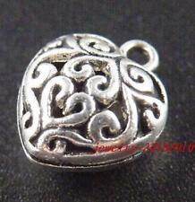 30 Tibetan Silver Hollow Heart Pendants Charms 16.5x13x9mm 12495