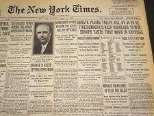 1930 JUNE 14 NEW YORK TIMES - HAWLEY-SMOOT TARIFF BILL PASSED 44-42 - NT 4967