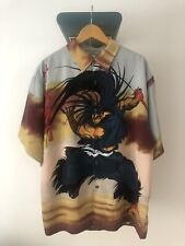 CLENCH 701 Jeans Anime Samurai All Over Print XL Button Up Korea 90s Vintage