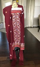 Pakistani Shalwar Kameez  Churidaar Maroon Womens Small