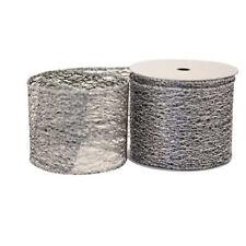 Luxury Black and Silver Web Christmas Ribbon - 1m length