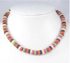 Unisex Gay Pride Rainbow Stripe Wood Bead Surfer Style Necklace & Bracelet Set