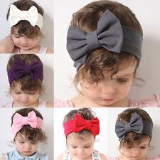 Girls Kids Baby Cotton Bow Hairband Headband Stretch Turban Knot Head Wrap Gray