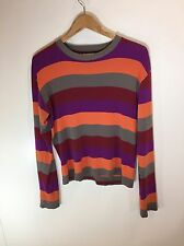 agnes b Vintage Ribbed Stretch Candy Striped Crewneck LS Shirt
