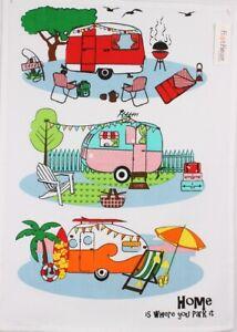 NEW Retro Caravan 100% Cotton Kitchen Tea Towel Home is Where You Park It